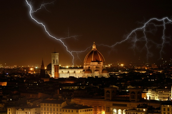 Lightning on the Cathedral of Florence in Italy