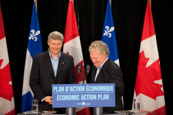Jean Charest and Stephen Harper at a press conference in Chelsea